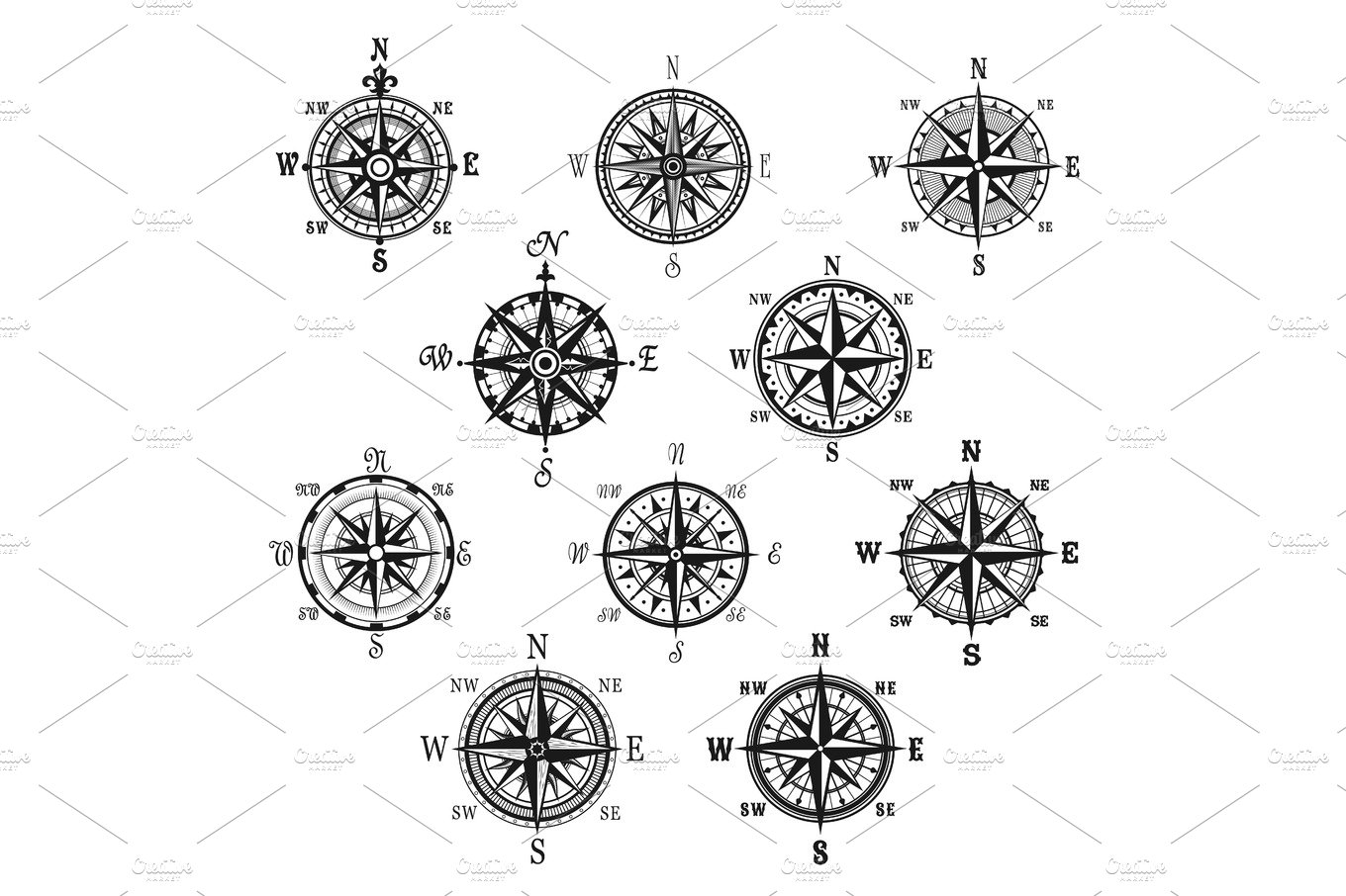 Vintage compass and wind rose isolated symbol set illustrations vintage compass and wind rose isolated symbol set illustrations creative market buycottarizona Image collections