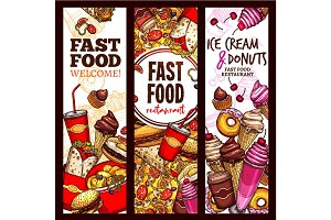 Fast food restaurant sketch banner, menu flyer set