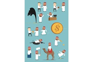 Arabian businessman activities cartoon set