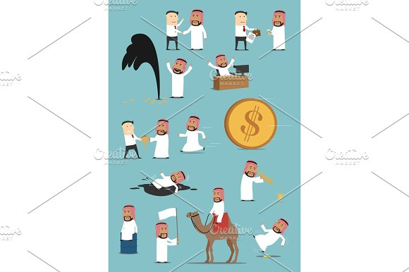 Arabian Businessman Activities Cartoon Set