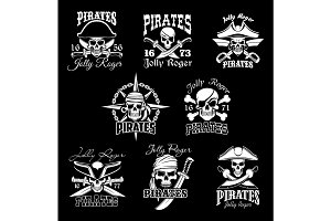 Pirate skull with crossbone, Jolly Roger icon set