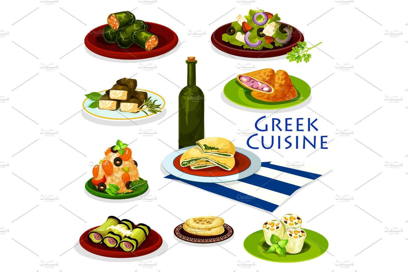 Greek cuisine healthy food cartoon icon design for Cuisine healthy