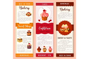 Cake, bakery and pastry dessert banner template