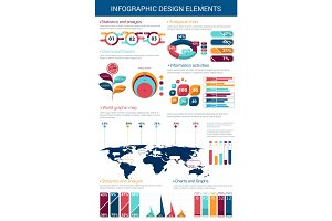 Infographic design element with graph and chart