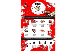 Sushi and seafood dishes menu template design