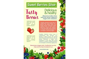 Fresh berry, fruit, healthy food poster template