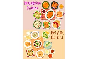 Malaysian and british cuisine lunch menu icon set