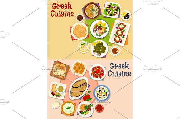 Greek Cuisine Lunch Menu Icon Set For Food Design
