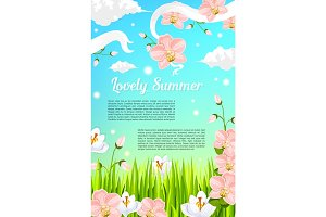Summer flowers and floral blooms vector poster