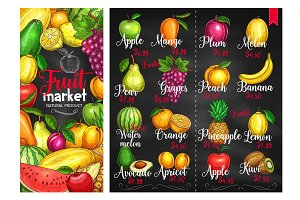 Fruit chalk sketches blackboard poster template