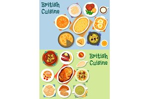 British cuisine traditional meat dishes icon set