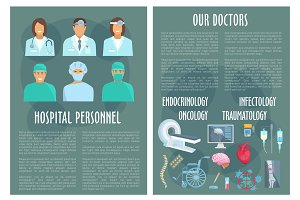 Hospital medical personnel, doctor poster design