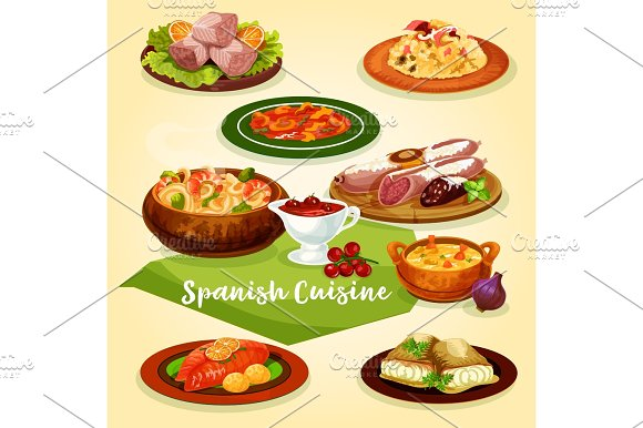 Spanish Cuisine Meat And Fish Dishes Cartoon Icon