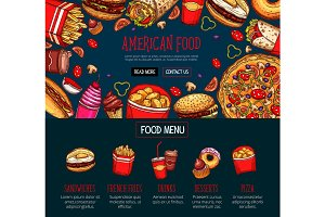 Fast food menu with takeaway dishes and drink