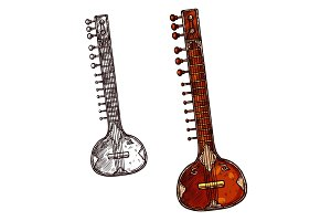 Sitar indian musical instrument isolated sketch