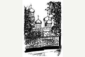 Monochrome church sketched art