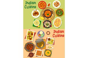 Indian cuisine dinner dishes menu icon set design
