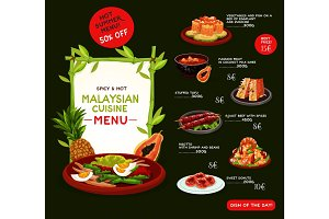 Malaysian cuisine menu template with asian food