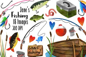 Watercolor Fishing Clipart
