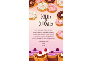 Cupcake and donut pastry dessert banner design