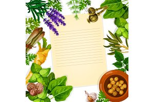 Recipe paper with herb, spice and leaf vegetable