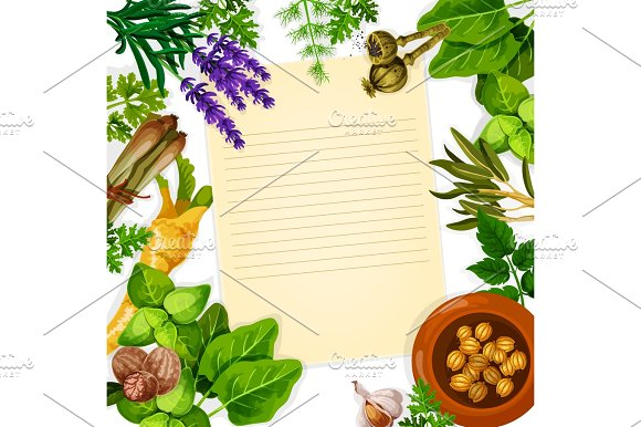 Recipe Paper With Herb Spice And Leaf Vegetable