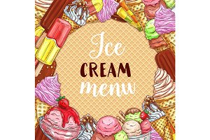 Ice cream menu sketch poster on waffle texture