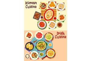 Korean and irish cuisine dinner icon set design