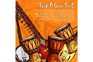 Musical festival of folk music sketch poster