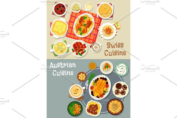 Austrian And Swiss Cuisine Tasty Lunch Icon Set