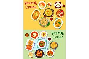 Spanish cuisine national dishes icon set design
