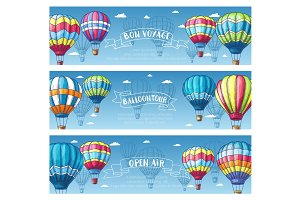 Hot air balloon in sky sketch banner set