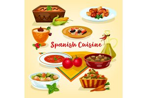 Spanish cuisine tasty dinner dishes cartoon icon