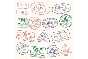 Passport stamp, travel visa sign icon set