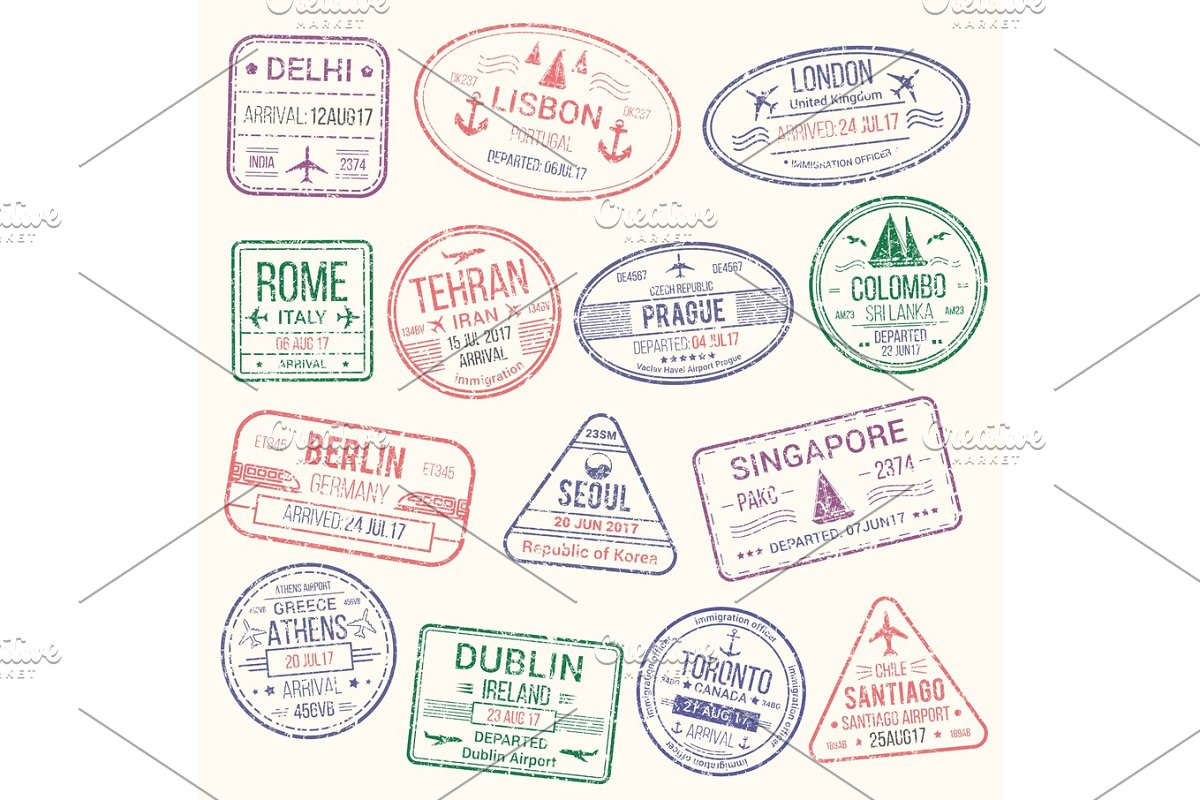 Passport Stamp Travel Visa Sign Icon Set Graphic Objects