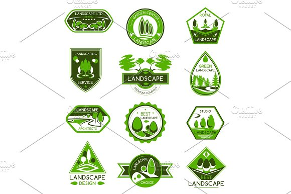 Landscape Design Badge Set Of Park And Garden Tree