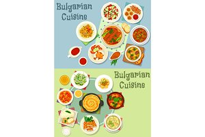 Bulgarian cuisine healthy food dishes icon set