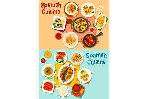 Spanish cuisine menu icon set for dinner design