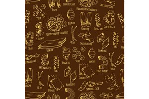Italian pasta seamless pattern with macaroni sketch