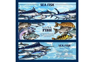Fresh fish seafood restaurant sketch banner set