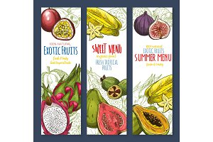 Exotic fruit sweet tropical food sketch banner set