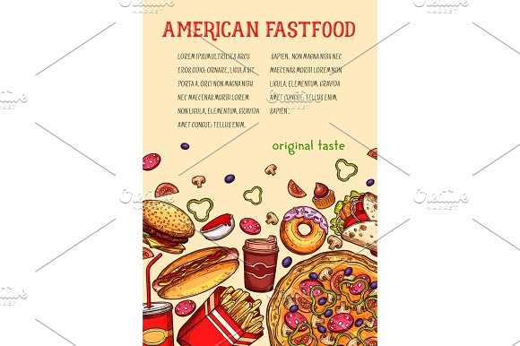American Fast Food Meal And Drink Sketch Poster