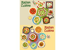 Italian cuisine pasta dishes icon set design