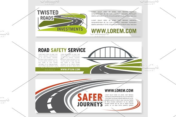 Vector Banners For Road Safety Service Company