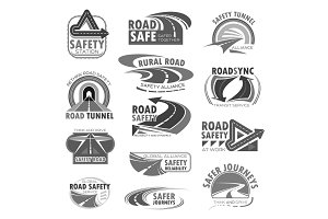 Vector icons set for road safety construction