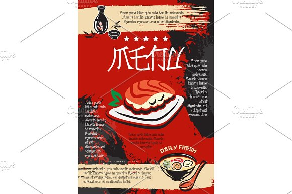 Menu For Japanese Seafood Restaurant Vector Design