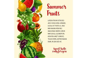 Vector poster with fresh summer tropical fruits