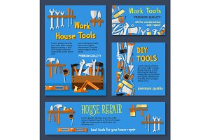 Vector templates of house repair work tools