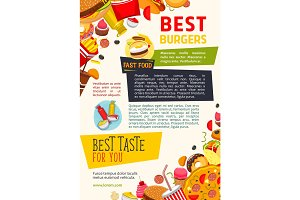 Vector poster for fast food burgers restaurant