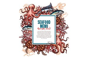 Vector menu for seafood or fish food restaurant